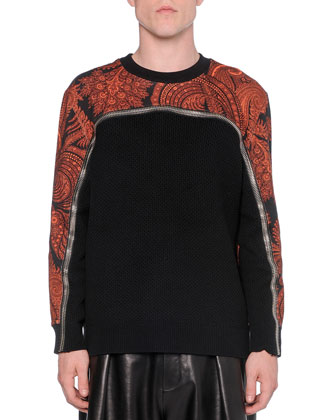 Paisley-Print Zippered Knit Sweater, Black/Orange