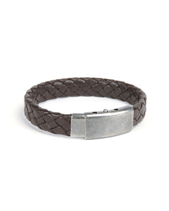 Woven Leather Bracelet, Brown