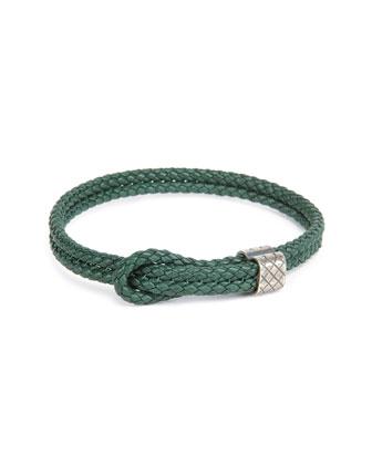 Men's Woven Leather Knot Bracelet, Green