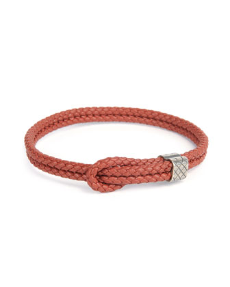 Men's Woven Leather Knot Bracelet, Red