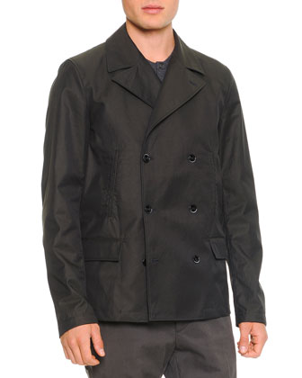 Short Double-Breasted Coat, Military Green