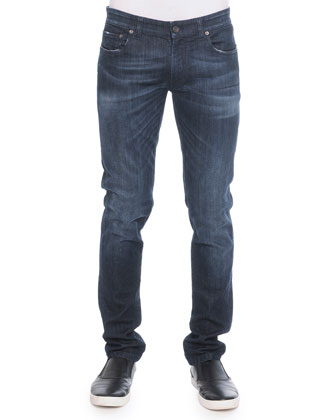 Stretch Washed Denim Jeans, Blue