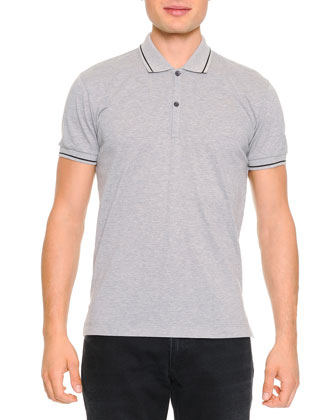 Tipped Polo Shirt with Logo, Gray