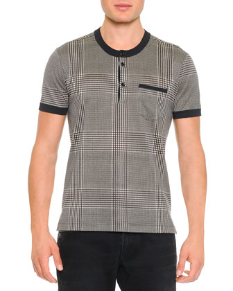 Short-Sleeve Cotton/Silk Plaid Henley, Gray