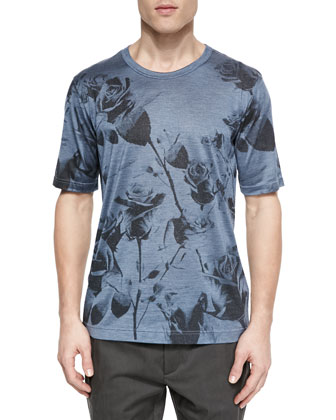 Floral-Print Short-Sleeve Tee, Blue