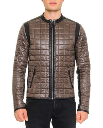 Quilted Jacket W/ Leather Trim, Olive