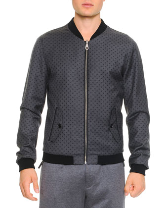 Reversible Dot Bomber Jacket, Gray