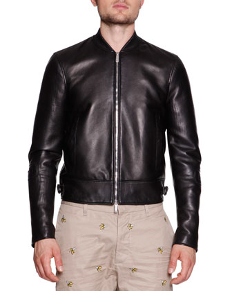 Leather Moto Varsity Jacket, Black