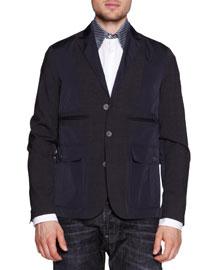 Mixed Media Notch-Lapel Jacket