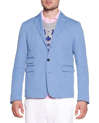 Schoolboy Cotton-Gabardine Jacket, Blue