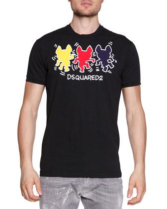 Dancing-Dogs Logo Tee, Black