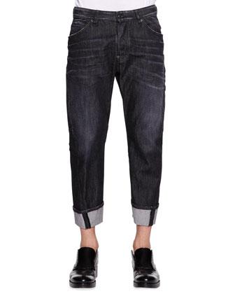 Workwear Black Faded Jeans
