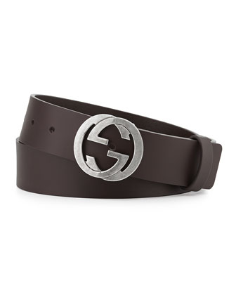 Leather Belt with Interlocking G Buckle, Black