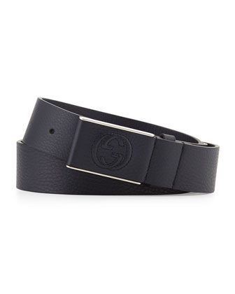 Leather Belt with Covered Plaque Buckle, Navy