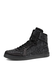 High-Top Sneaker with Crystal Studs, Black