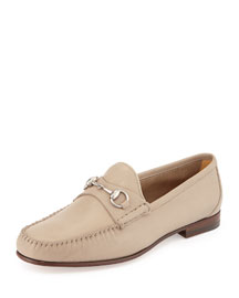 Unlined Leather Horsebit Loafer, Tan