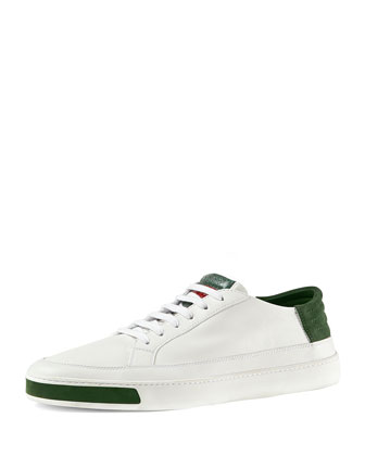Leather, Suede & Lizard Low-Top Sneaker, White