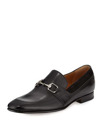Leather Square-Horsebit Loafer, Black