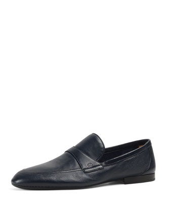 Unlined Leather Loafer, Navy