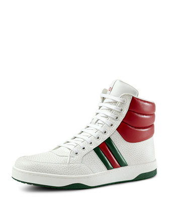Contrast Padded Leather High-Top Sneaker, White