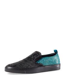 Crystal Satin Slip-On Sneaker, Black/Teal