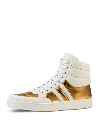 Contrast Padded Leather High-Top Sneaker, White/Gold