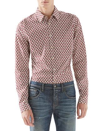 Dressage-Print Poplin Shirt, Burgundy