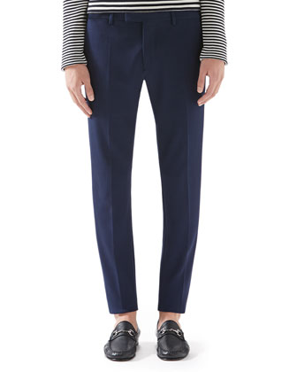 Cotton Tricotine Jersey Sharp Pants, Navy