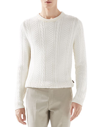 Cable Knit Sweater, White