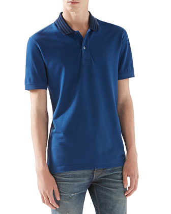 Pique Polo Shirt with Striped Collar, Blue