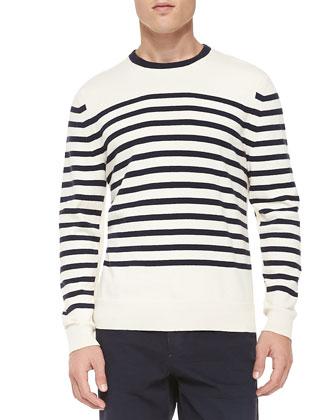 Chase Striped Crewneck Sweater, White