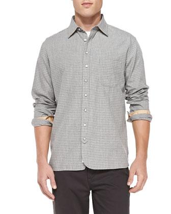3/4-Placket Check Shirt, Gray