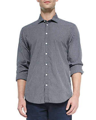 Charles Check Sport Shirt, Navy