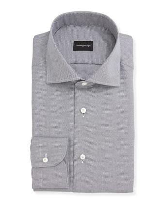 Textured Oxford Dress Shirt, Gray