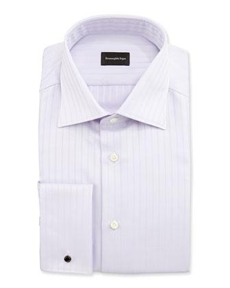 Solid Textured-Stripe Shirt, Purple
