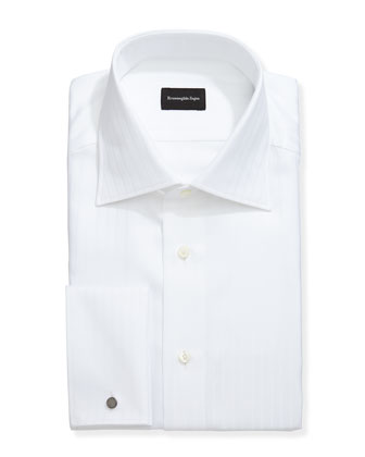 Wide-Stripe French-Cuff Dress Shirt, White