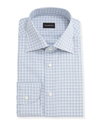 Shadow-Check Dress Shirt, Blue