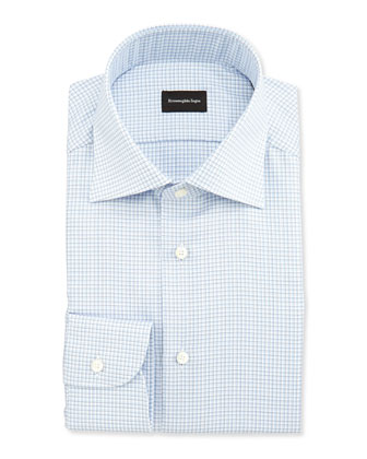 Shadow Microcheck Shirt, Blue