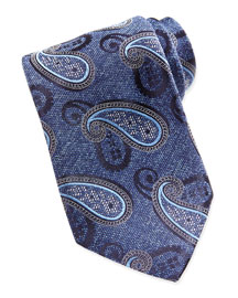 Chambray Melange Paisley Tie, Blue