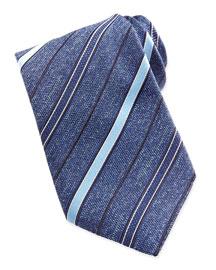 Chambray Stripe Melange Tie, Blue