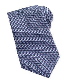 Woven Micro House-Print Tie, Blue