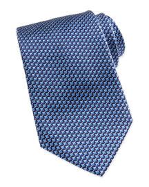 Micro Slanted Diamond Silk Tie, Blue