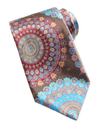 Quindici Large-Circle Silk Tie, Brown
