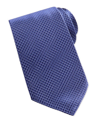 Scale-Print Neat Tie, Black