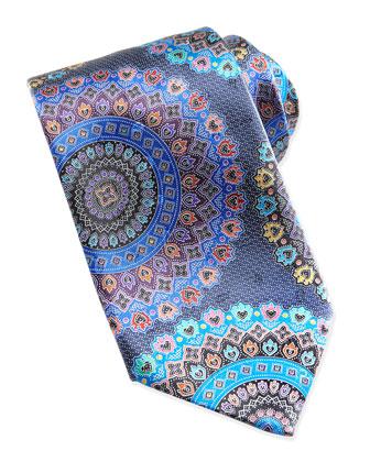 Quindici Large-Circle Silk Tie, Navy