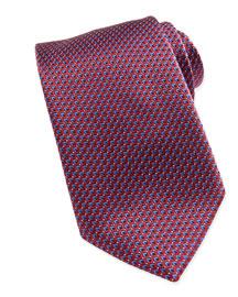 Micro Slanted Diamond Silk Tie, Red