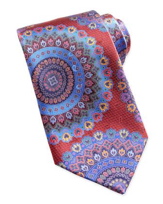 Quindici Large-Circle Silk Tie, Red