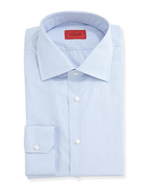 Solid Woven Dress Shirt, Basic Blue