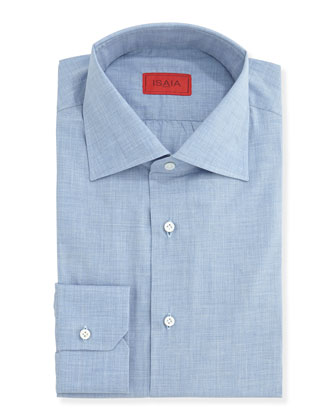 Woven Chambray Solid Dress Shirt, Light Blue