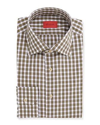 Modern Gingham Dress Shirt, Olive